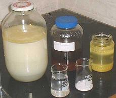 Ingredients & byproducts; wash-water, glycerine, finished biodiesel, potassium hydroxide, methanol